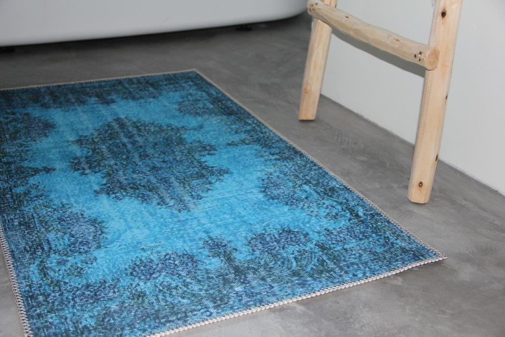 Badmat  rec blauw vintage vloerkleed look 100cm x 65cm 100% polyester