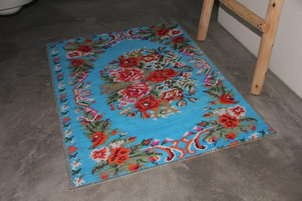 Badmat  rozenkelim aqua 100cm x 70cm 100% polyester