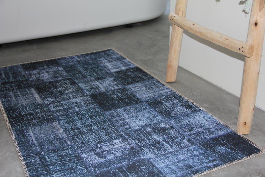 Laatste 2 Badmat  patchwork antraciet vintage vloerkleed look 112cm x 63cm 100% polyester