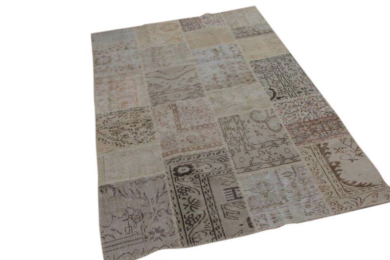 Vintage beige patchwork vloerkleed 240cm x 166cm (nr7284)