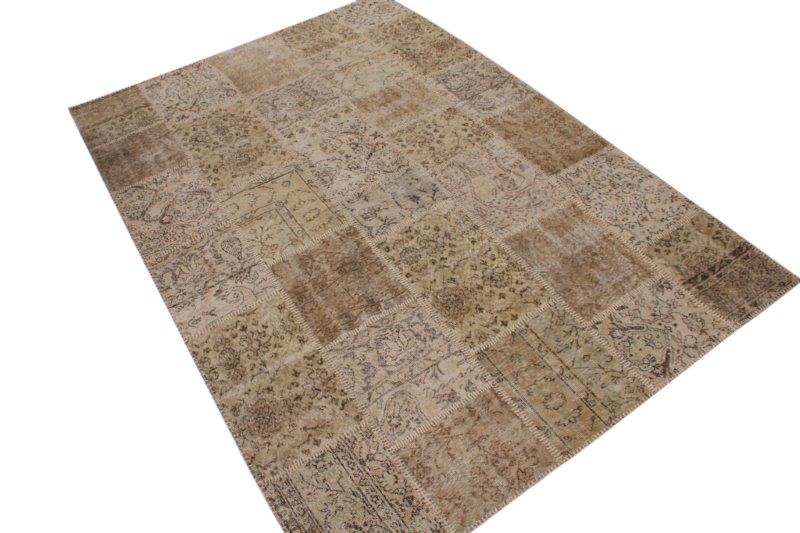 Vintage beige patchwork vloerkleed 297cm x 200cm (nr7303)