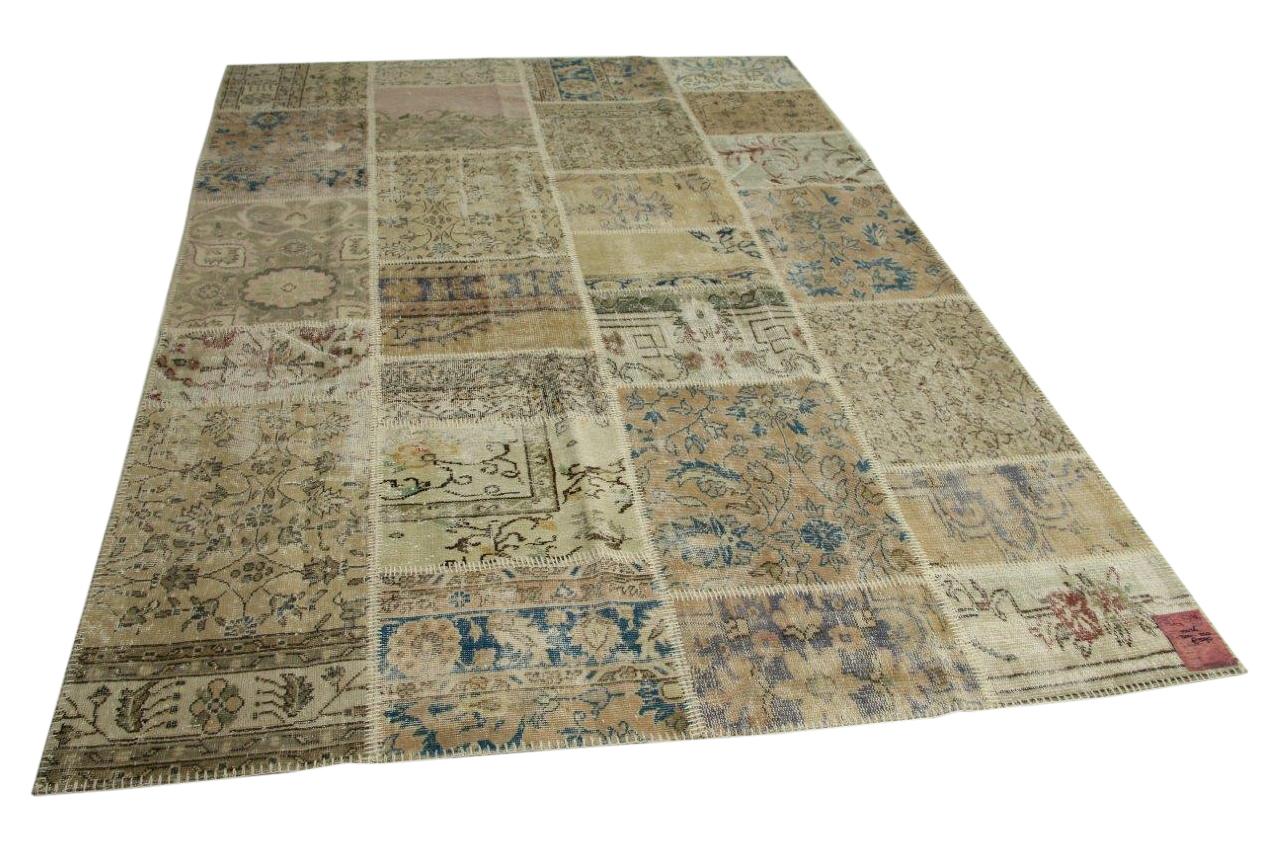 Beige patchwork vloerkleed 300cm x 200cm