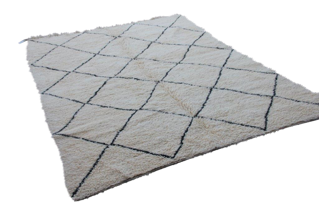 Ivoorwit Beni Ouarain vloerkleed uit Marokko no 3062 (300cm x 240cm)