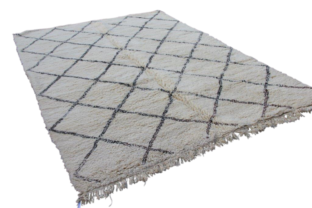 Ivoorwit Beni Ouarain vloerkleed uit Marokko no 9557 (320cm x 223cm)