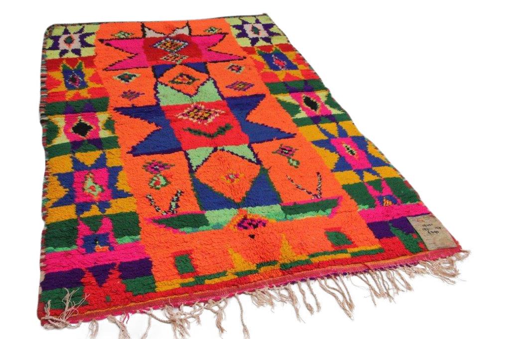 oranje beni mguild vloerkleed uit Marokko 19421 van 197cm x 127cm