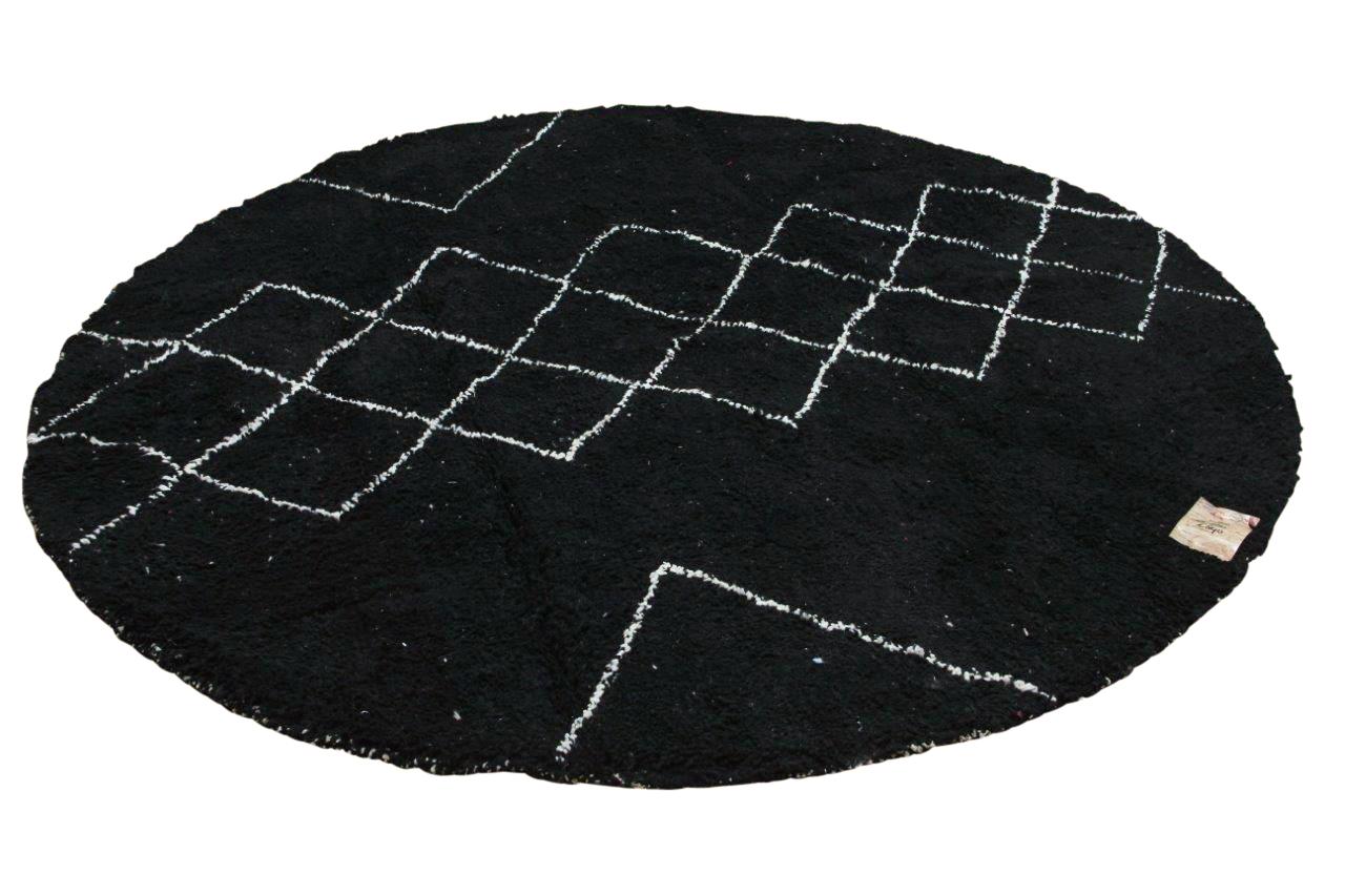 Rond beni ouarain vloerkleed zwart 250cm doorsnee
