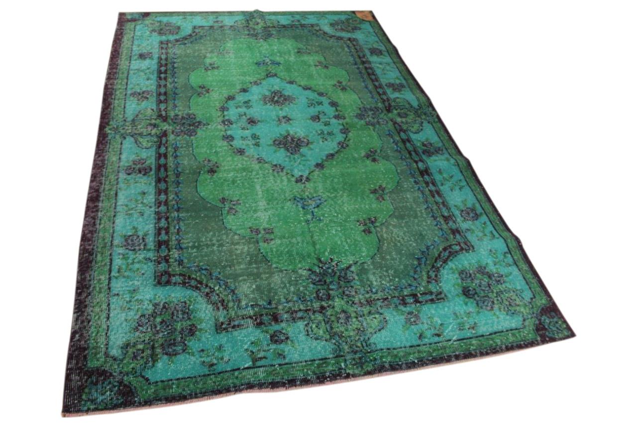 Vintage vloerkleed, blauw groen 256cm x 171cm