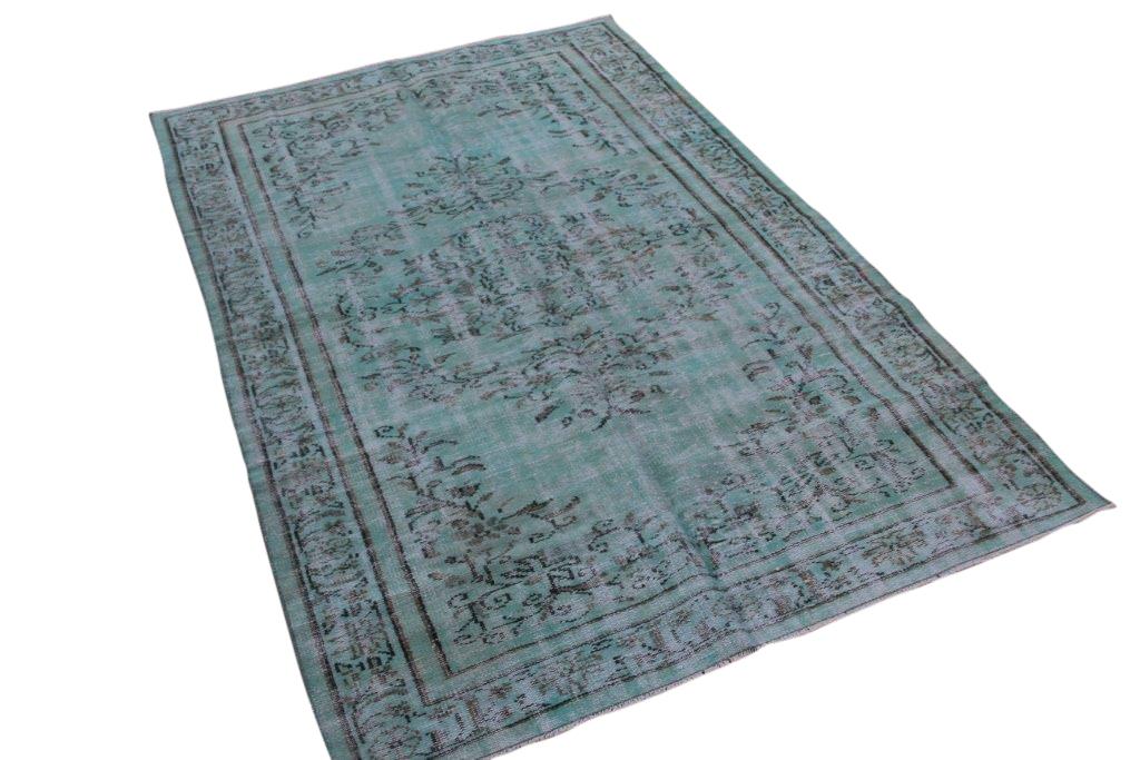 Blauw groen vintage vloerkleed 249cm x 159cm  (nr4888)