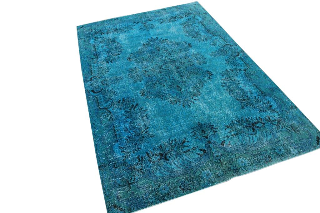 Blauw met groen vintage vloerkleed nr 986 (285cm x 188cm)