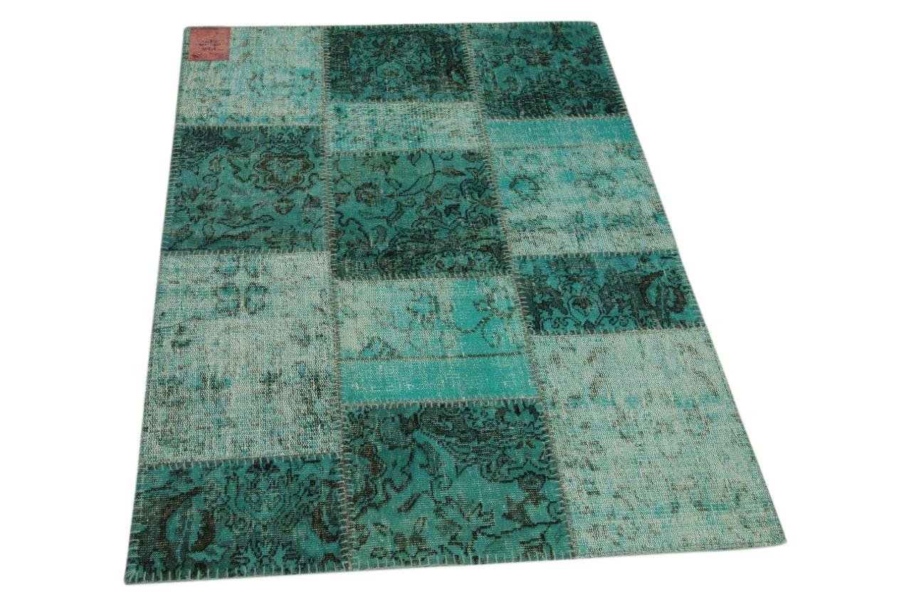 Patchwork vloerkleed blauw 155cm x 110cm nr71315