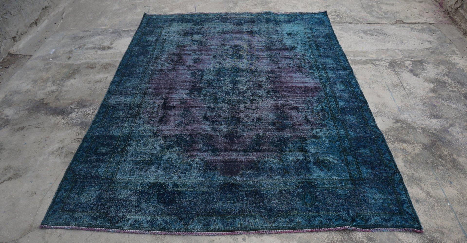 Gereserveerd blauw aubergine tapijt vloerkleed 306cm x 223cm  (nr4816)