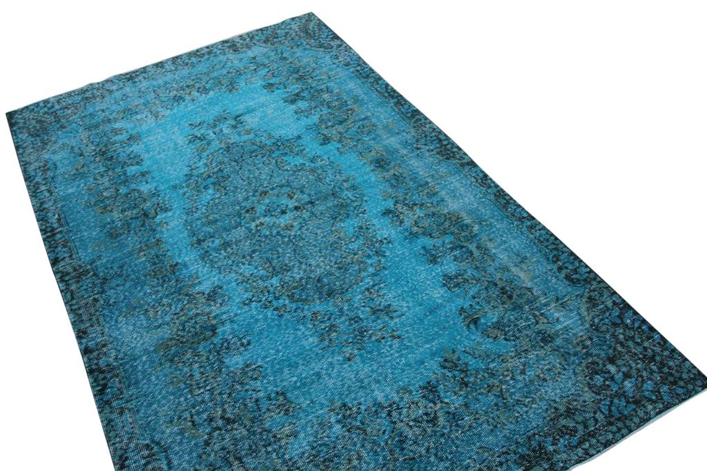 Vintage vloerkleed, blauw, 279cm x 169cm