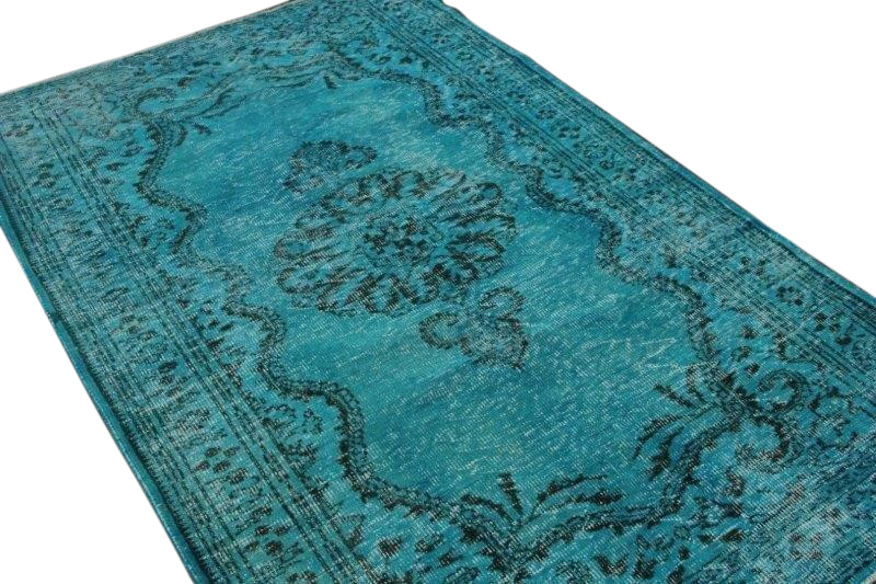Vintage vloerkleed, turquoise, 265cm x 170cm
