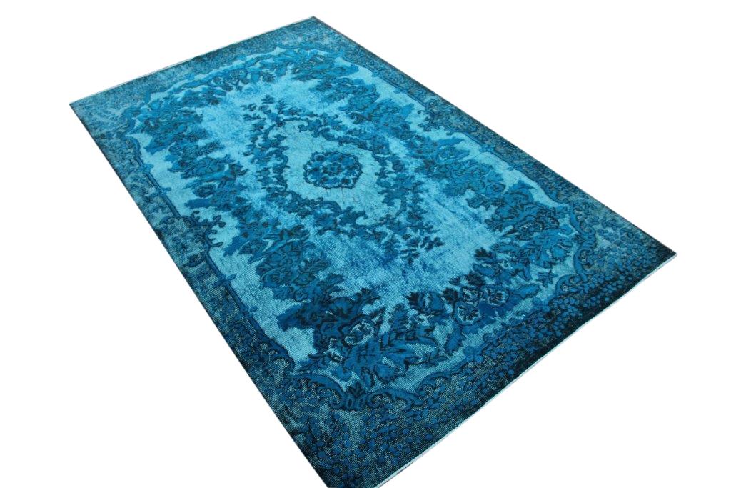"""""""3D look"""" relief geschoren blauw vintage vloerkleed nr 3055 (286cm x 177cm)"""