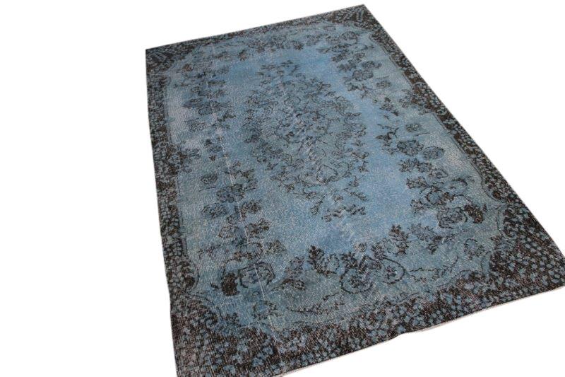 Blauw grijs vintage vloerkleed 267cm x 167cm  (nr4710)
