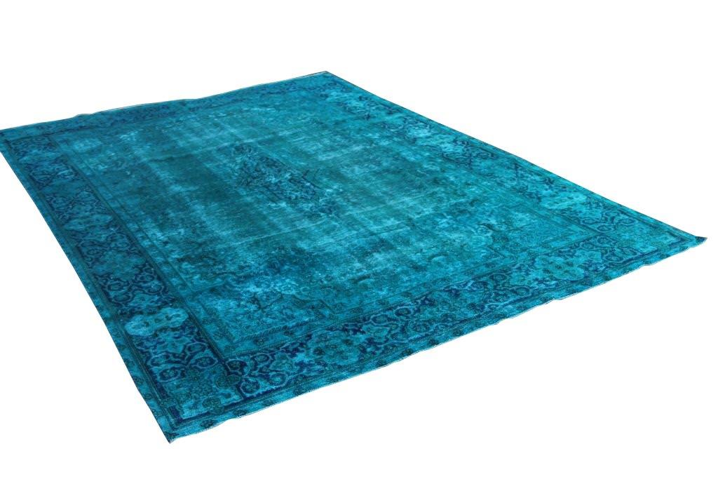 Vintage vloerkleed, turquoise, 393cm x 271cm