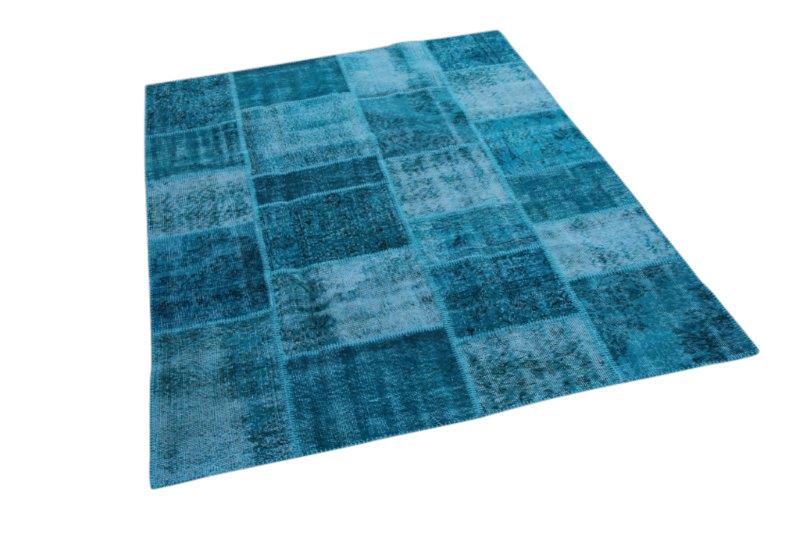 Blauw patchwork vloerkleed 235cm x 169cm 5507