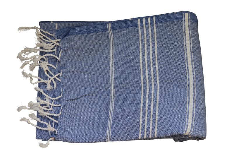 Afbeelding van Hamamdoek, jeans blauw 100% katoen 100cm x 180cm 100%