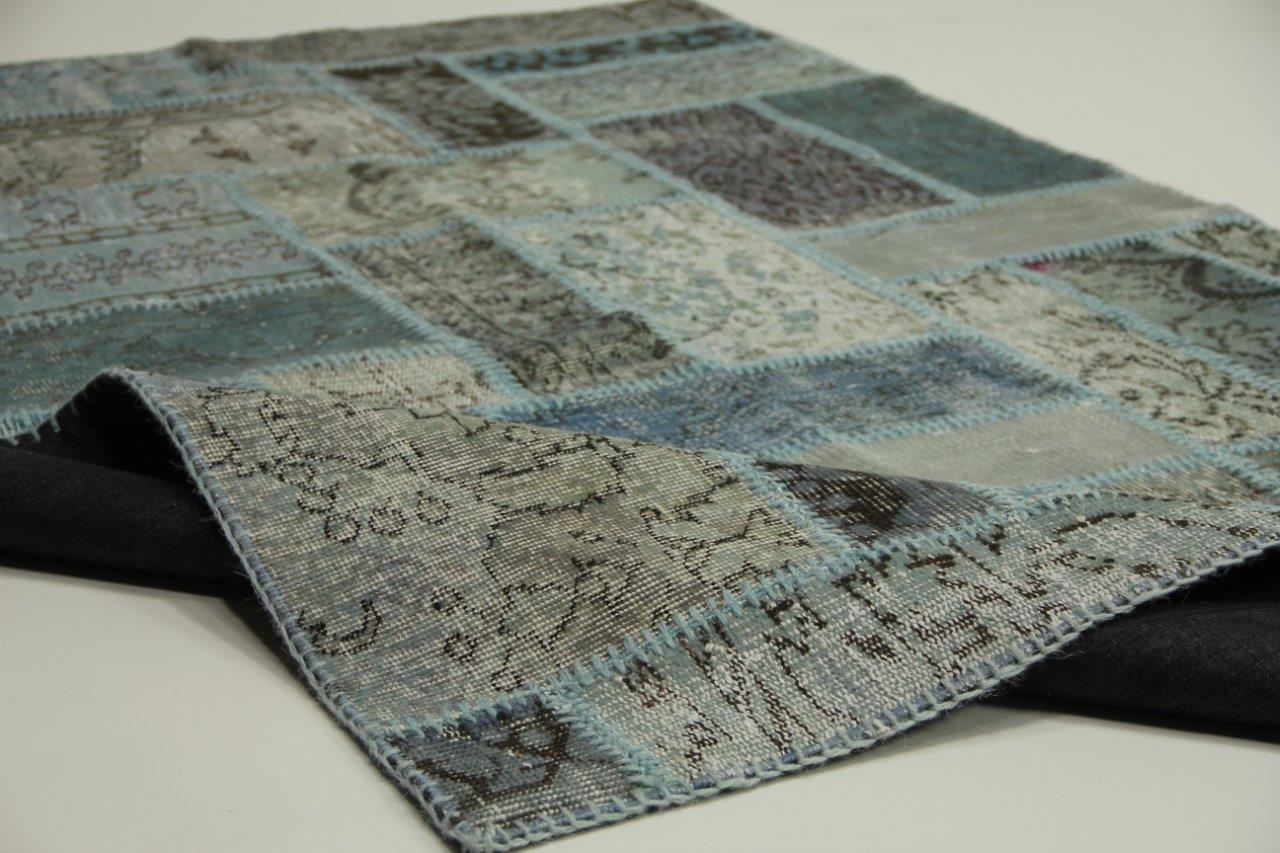 Blauw vloerkleed patchwork