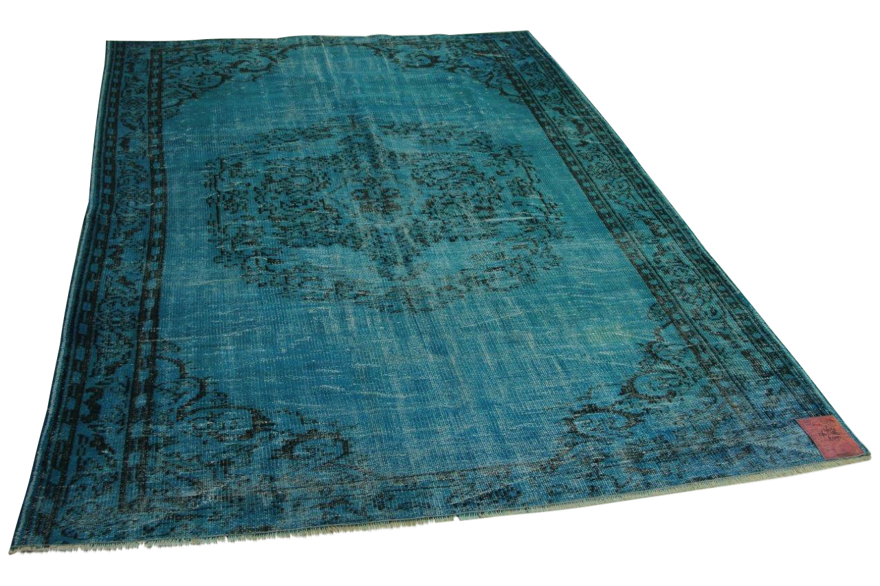 vintage vloerkleed blauw 276cm x 186cm