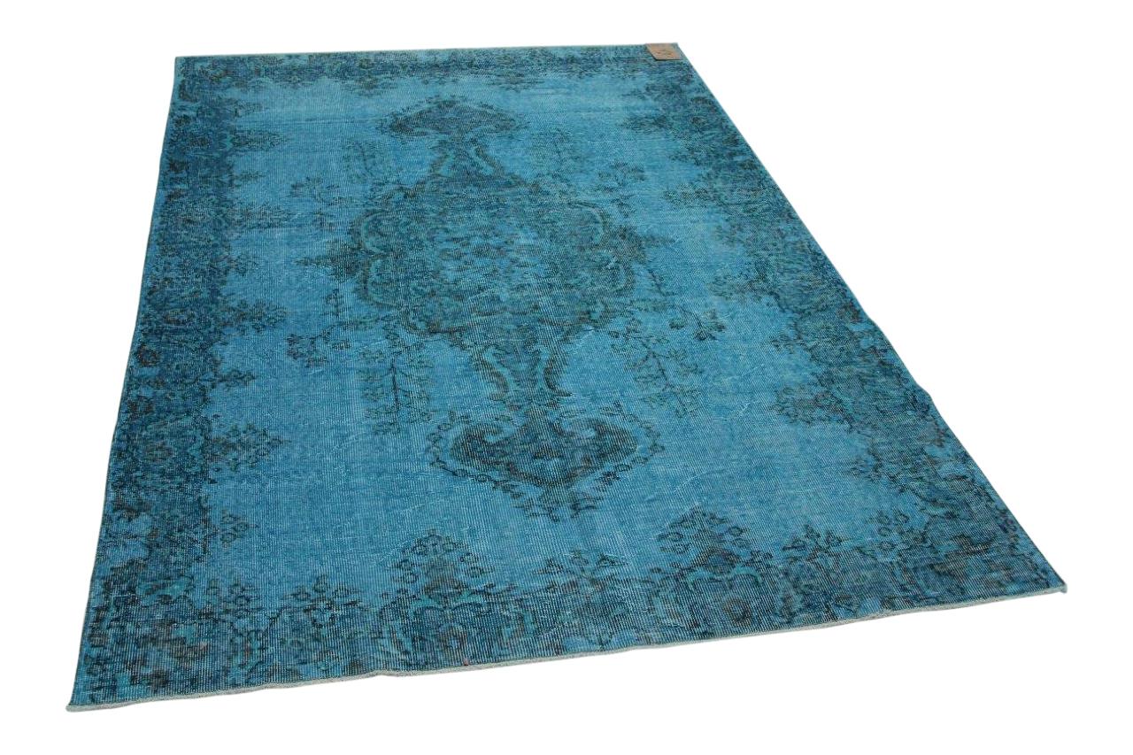 Felblauw vloerkleed