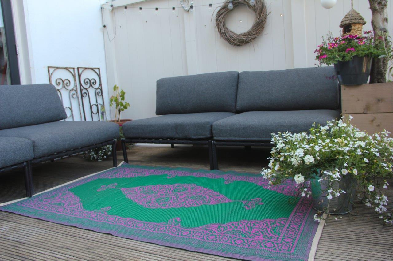 buitenkleed  paars groen van rozenkelim