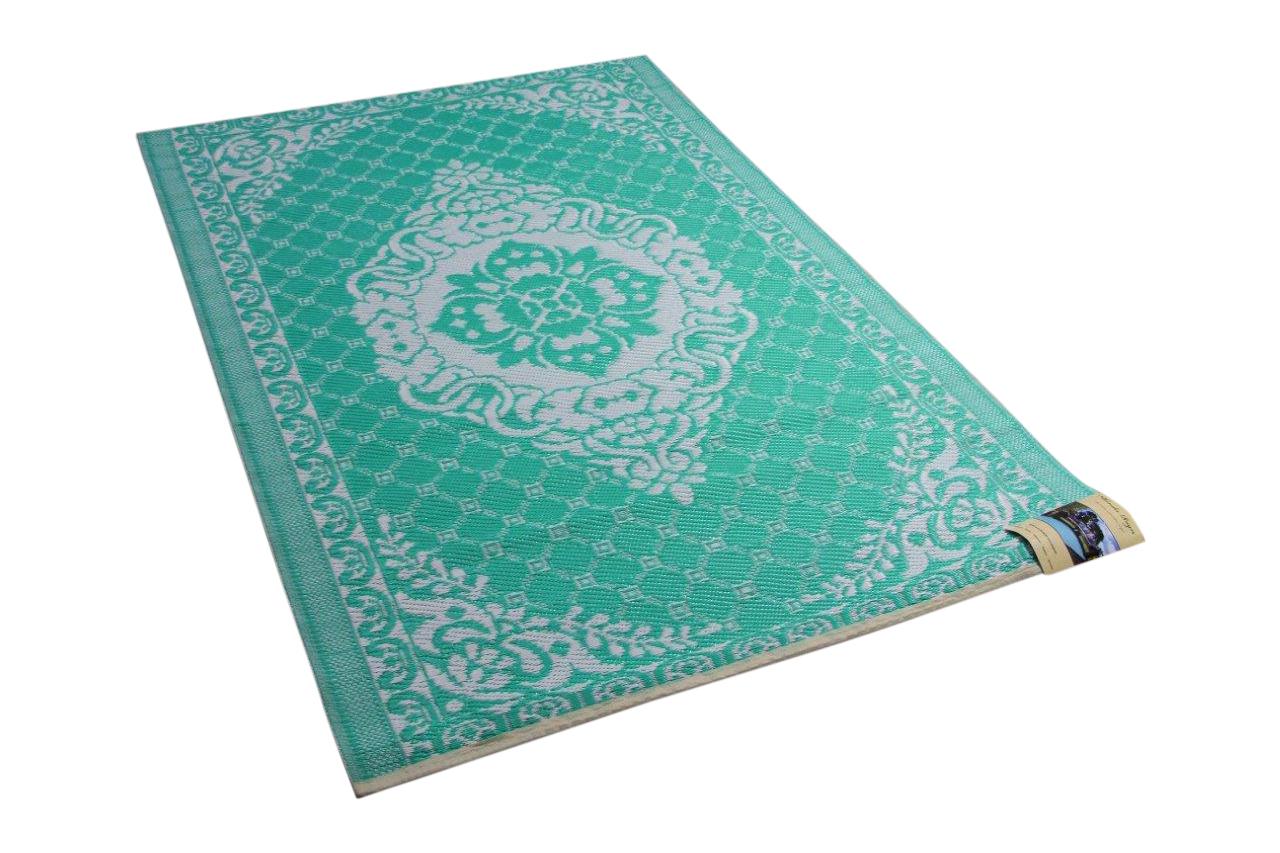 Buitenkleed van gerecycled gevlochten kunststof 180cm x 120cm groen