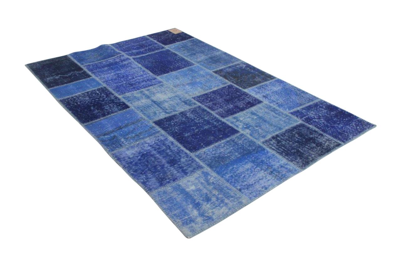 Donkerblauw patchwork vloerkleed 245cm x 166cm 7075