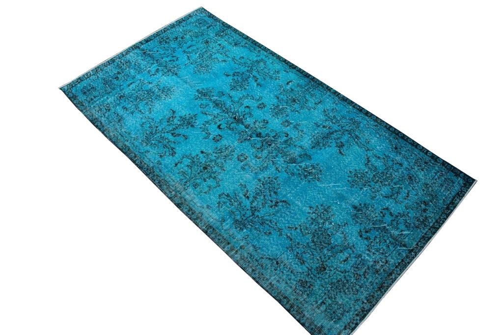 Felblauw vintage vloerkleed 213cm x 117cm  (nr4141)