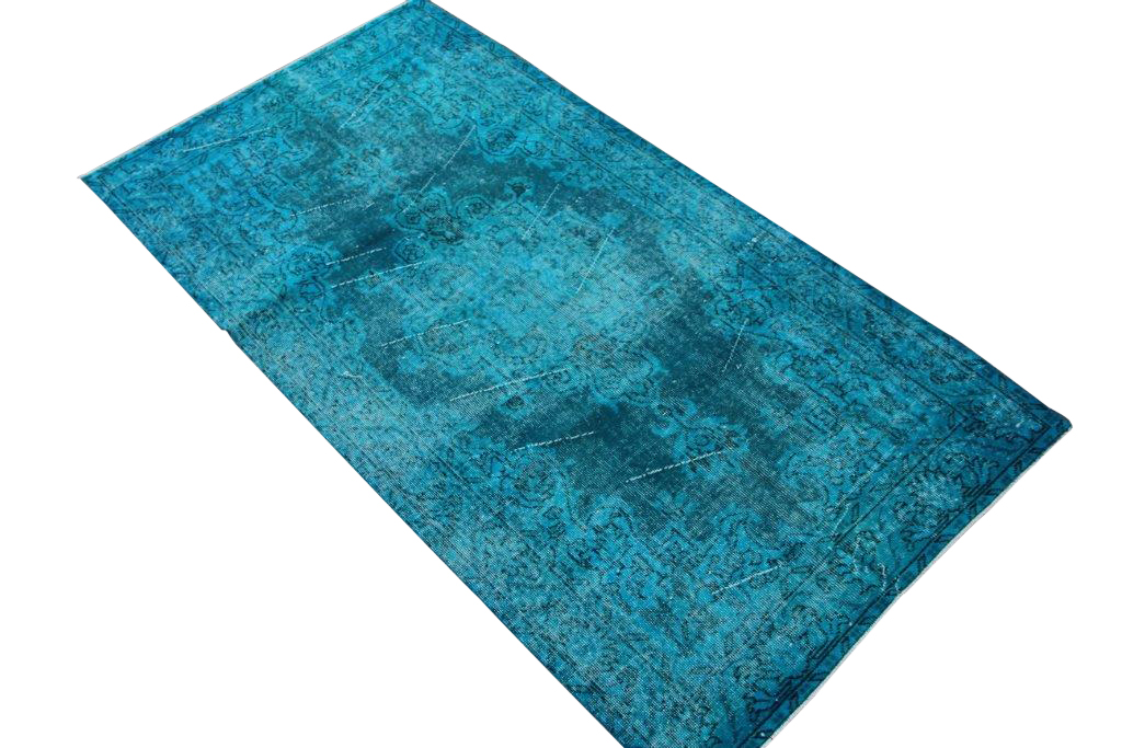 Felblauw vintage vloerkleed 214cm x 113cm  (nr4151)