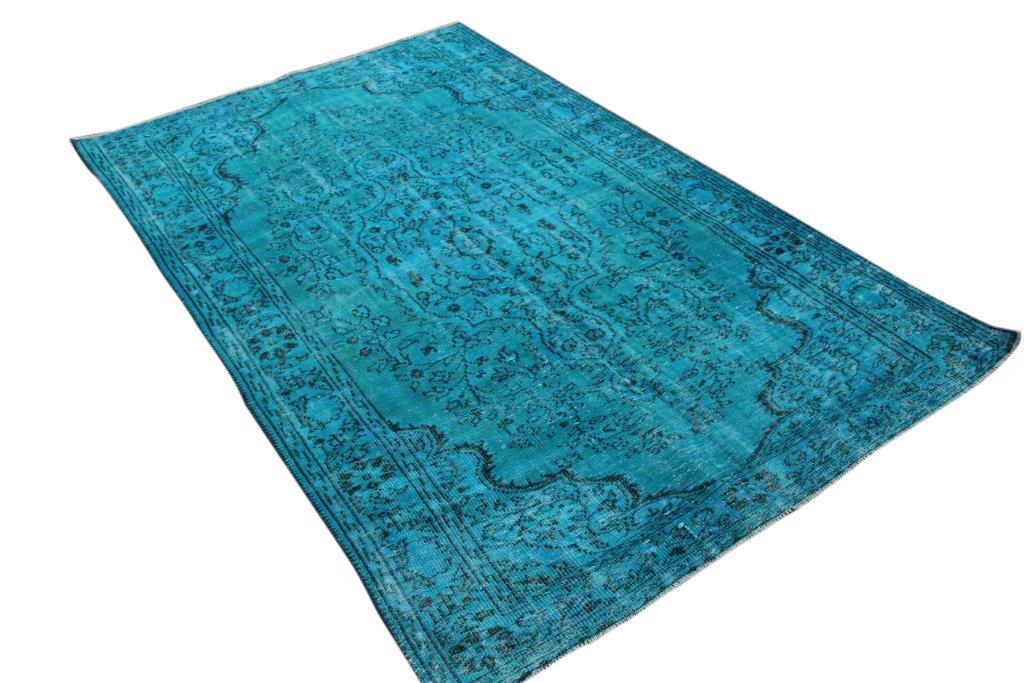 Felblauw vintage vloerkleed 264cm x 172cm  (nr4865)