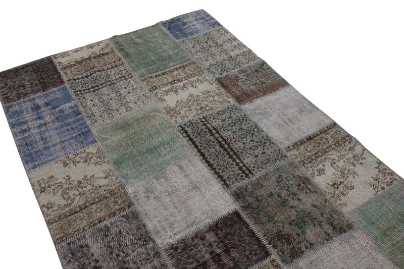 Vintage grijs patchwork vloerkleed 240cm x 170cm (nr7435)