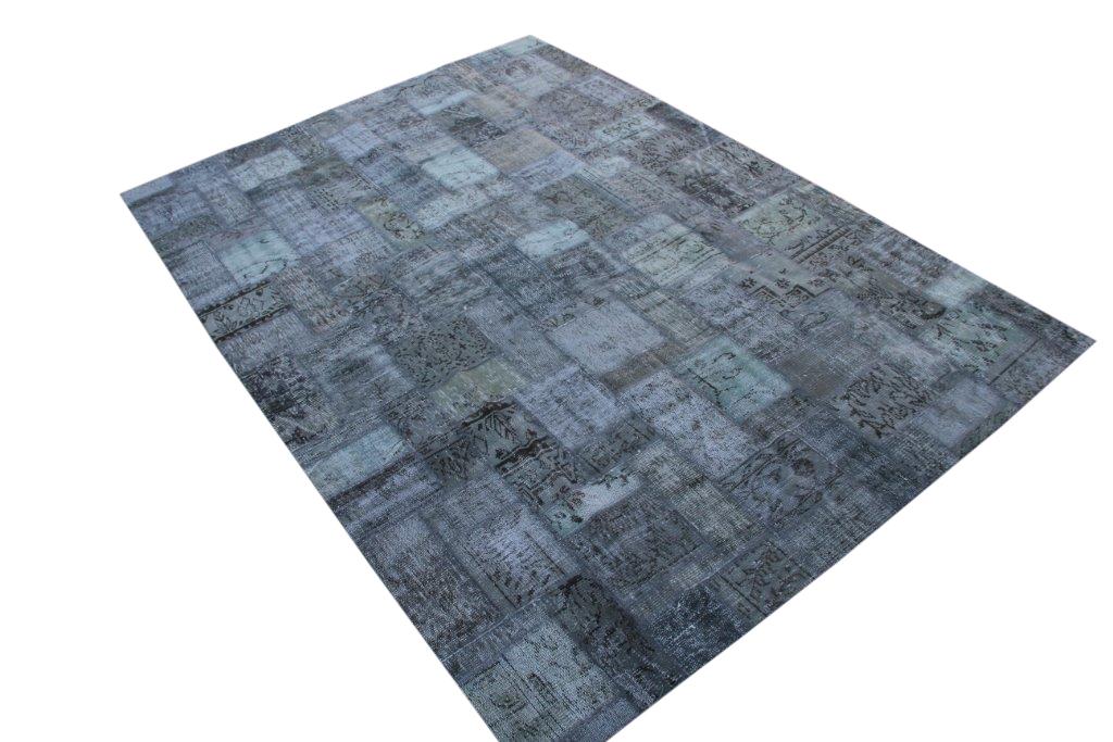 Grijs patchwork vloerkleed uit Turkije 298cm x 212cm, no 7521