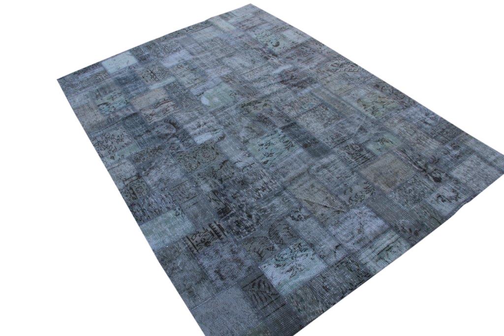 Grijs patchwork vloerkleed uit Turkije 298cm x 212cm, no 7612