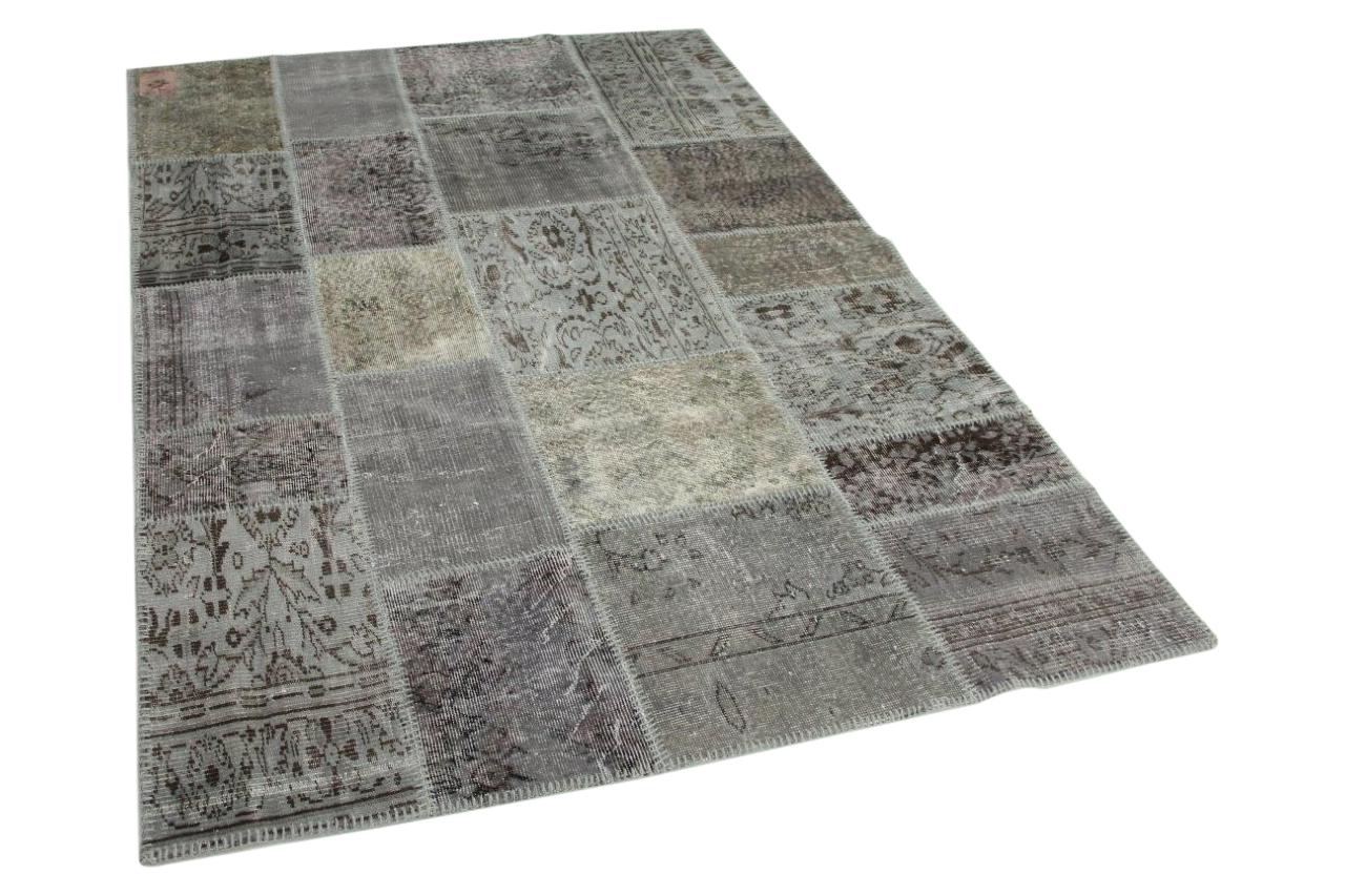 Grijs patchwork vloerkleed 240cm x 170cm 9230
