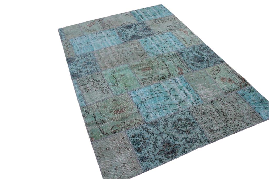 Groen blauw patchwork vloerkleed 270cm x 182cm (nr7133)