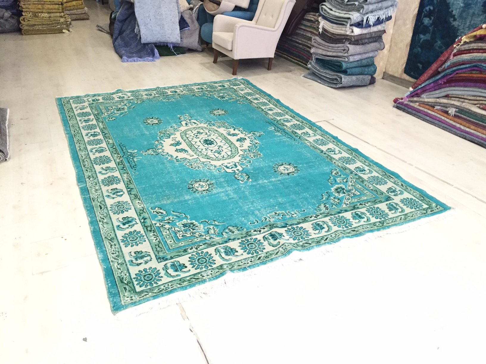 VERKOCHT groen blauw vintage vloerkleed 315cm x 214cm  (nr4852)
