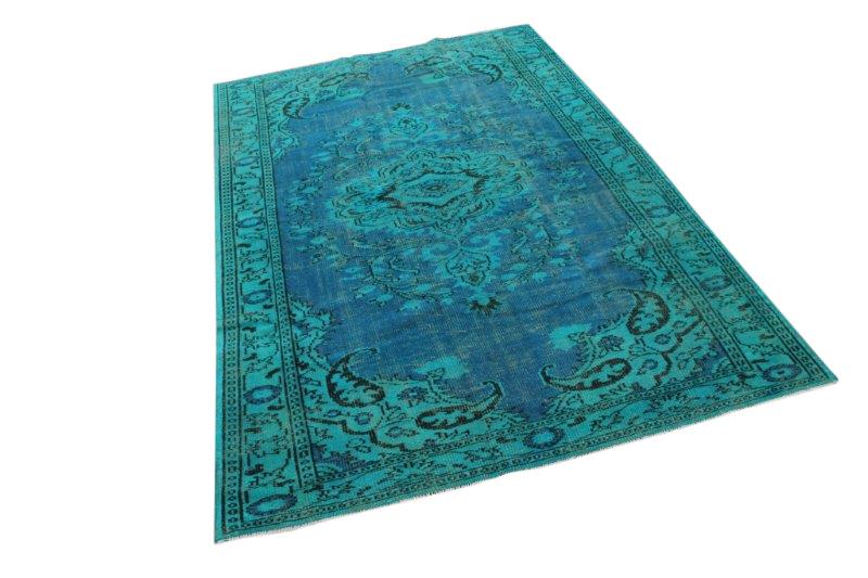 Vintage vloerkleed, blauw met groen, 286cm x 189cm