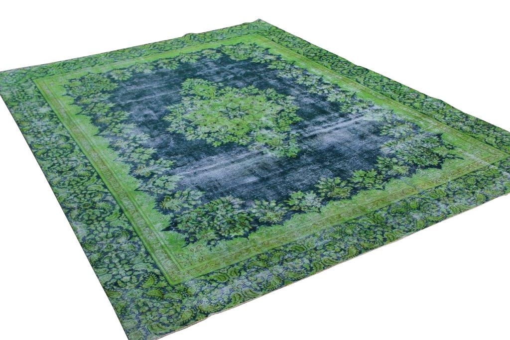 Groen, blauw vintage vloerkleed 374cm x 275cm  (nr52439)