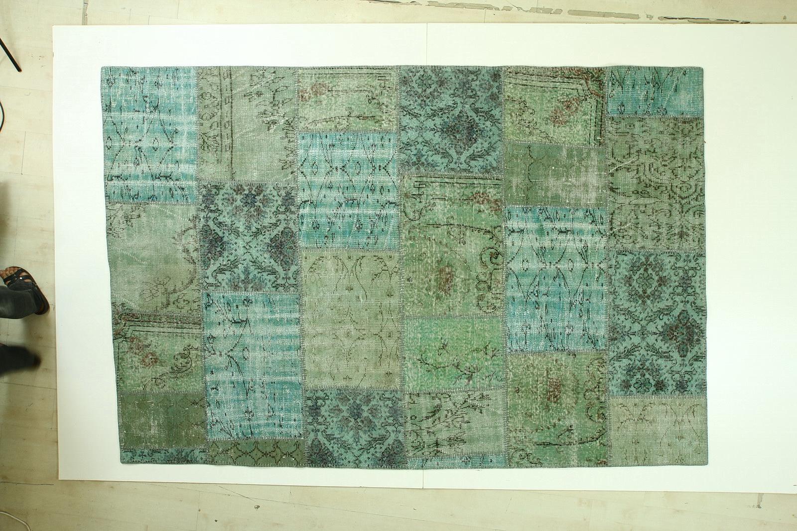 Patchwork vloerkleed, vintage, groen  270cm x 182cm