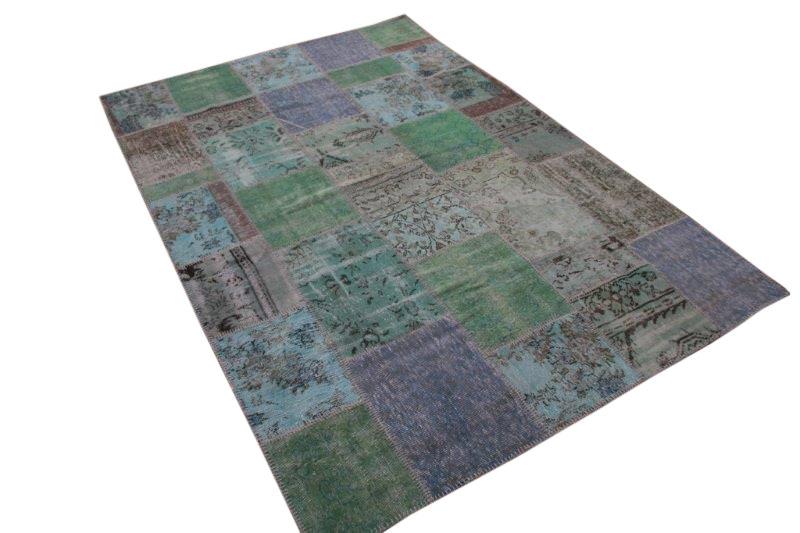 Vintage groen patchwork vloerkleed 295cm x 202cm (nr7272)