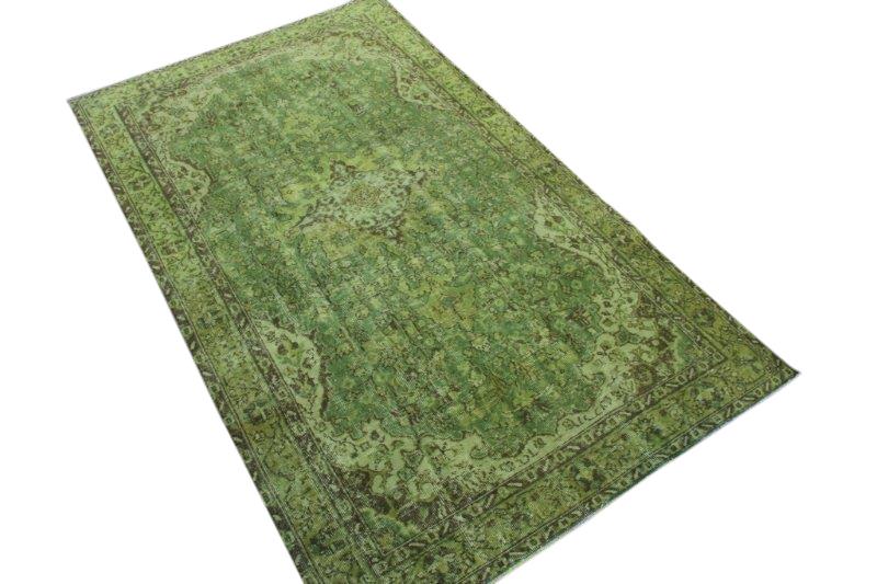 Vintage vloerkleed, gras groen, 266cm x 157cm