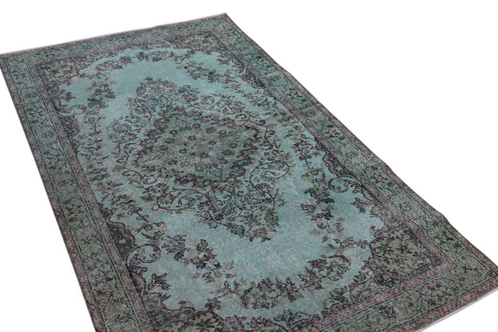 Groen blauw vintage vloerkleed 267cm x 158cm for Praxis vloerkleed