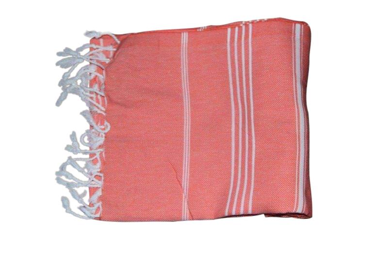 Hamamdoek, zalmkleur 100% katoen 100cm x 180cm 100% geweven katoenen handdoek.