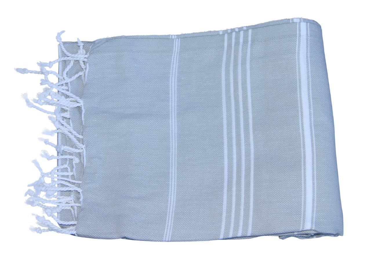 Afbeelding van Hamamdoek, licht grijs 100% katoen 100cm x 180cm 100% geweven katoenen handdoek.