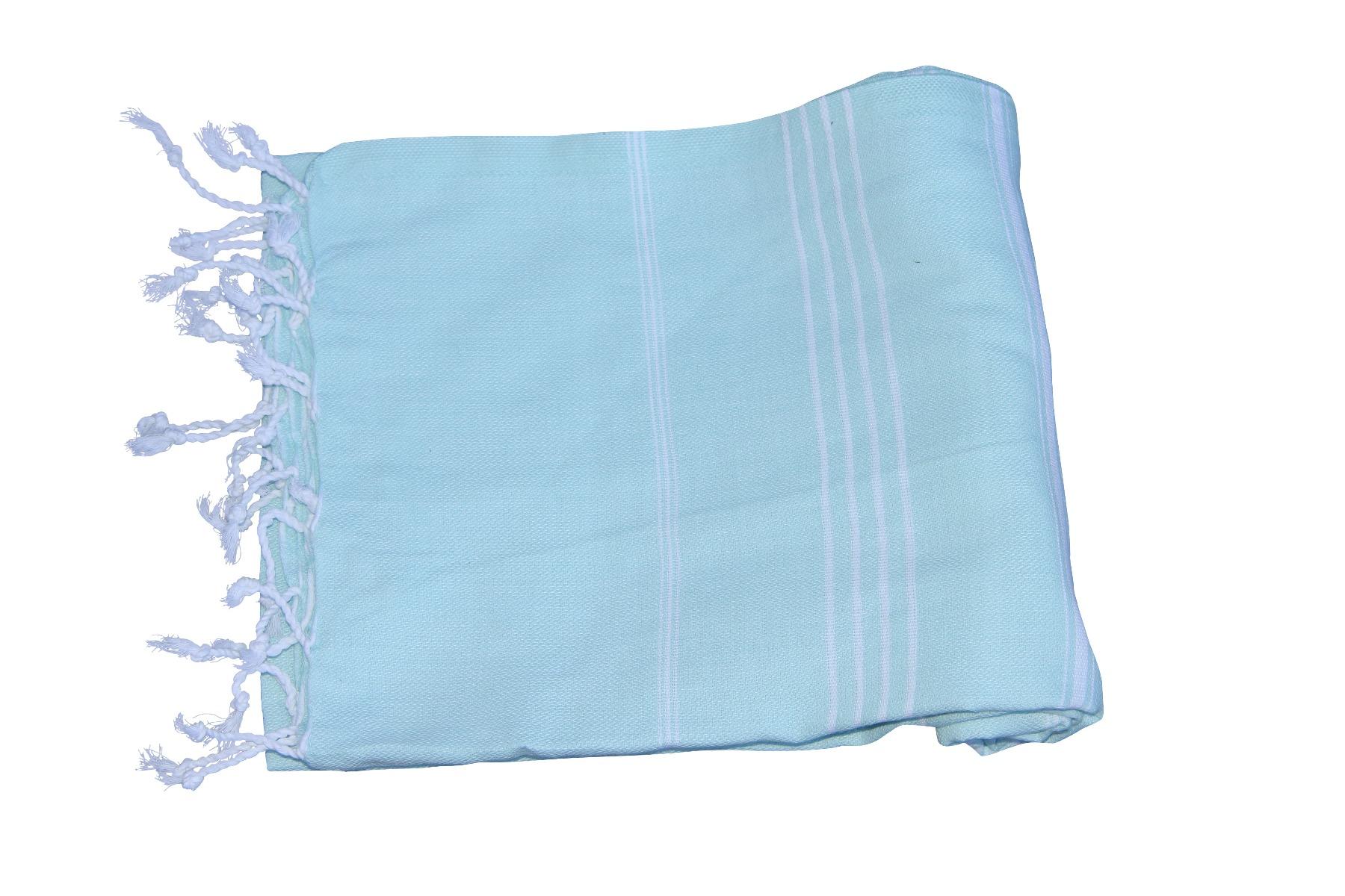 Afbeelding van Hamamdoek, licht turquoise 100% katoen 100cm x 180cm 100% geweven katoenen handdoek.