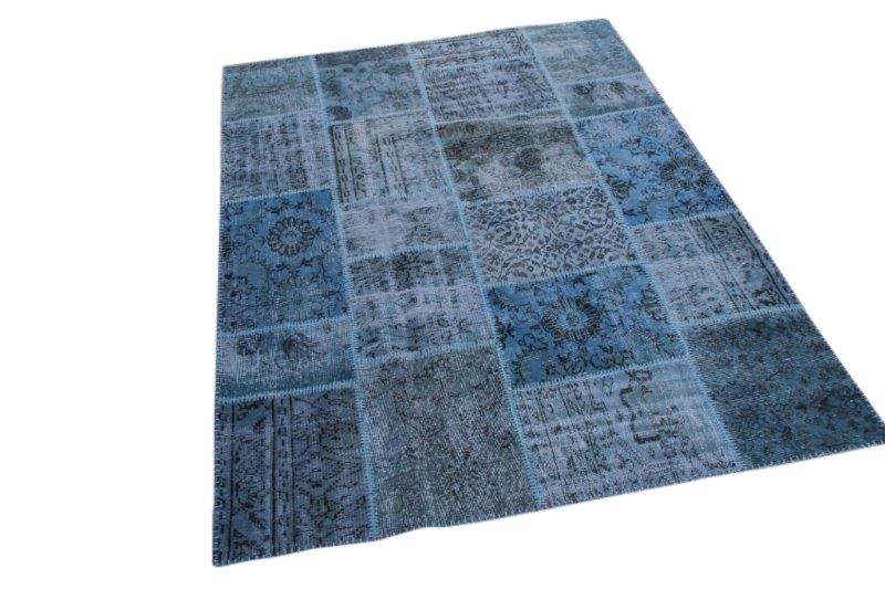 Blauw vintage patchwork tapijt  240cm x 170cm (nr5449)
