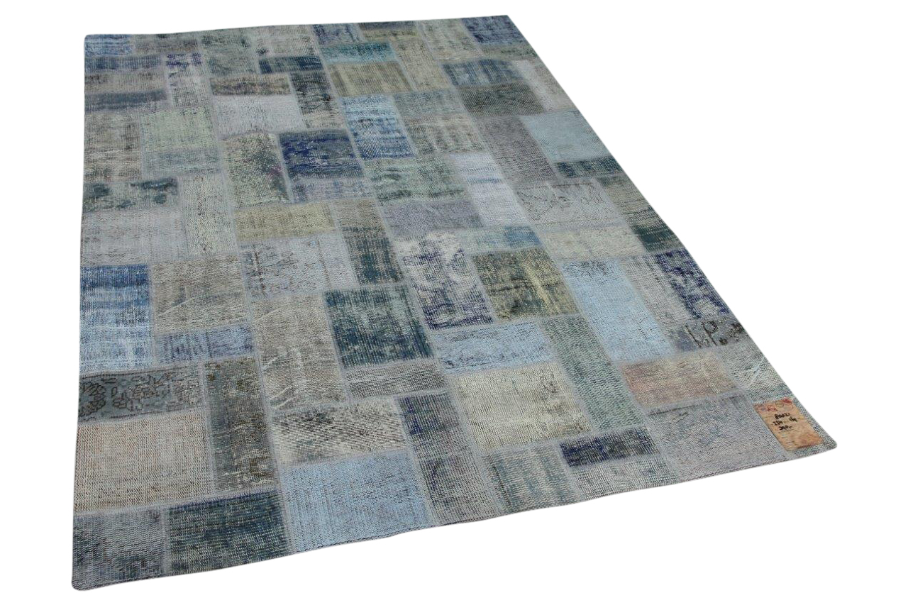 patchwork vloerkleed ijsblauw