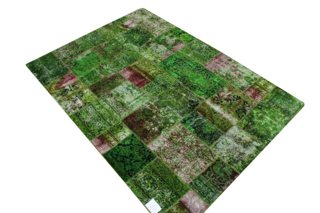 Gifgroen patchwork vloerkleed 240cm x 169cm, no 50110