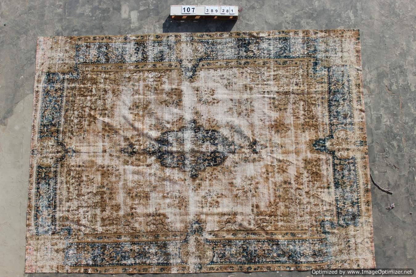Zeer groot recoloured vloerkleed 107 (389cm x 281cm)
